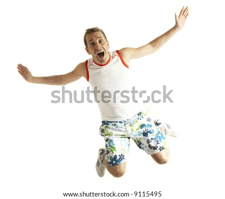 A man with casual clothes falling with scared face isolated on white - stock photo