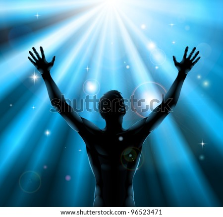 A man with hands held up in silhouette with light rays in the background