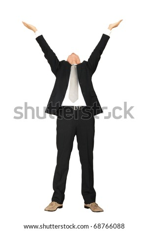 a man with hands raised - stock photo