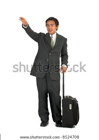 a man with his luggage over a white background - stock photo