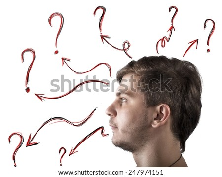 A man with many doubts and questions - stock photo