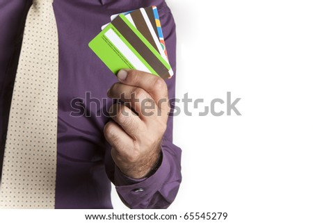 a man with multiple cards in your hand chalk - stock photo