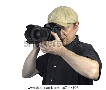 a man with photo camera on white background