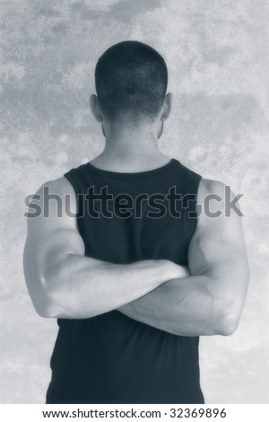 A man with the head turned back facing the camera. The concept of ignoring. Isolated on white - stock photo
