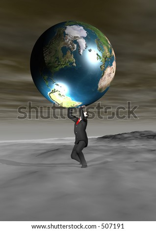 A man with the weight of the world on his shoulders - stock photo