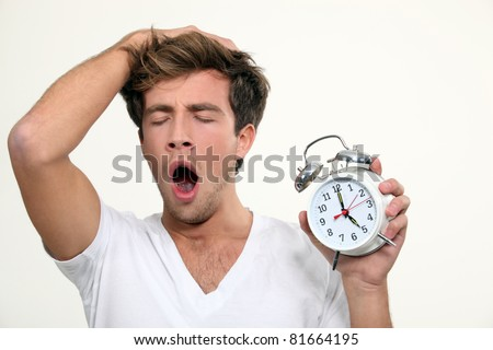 a man yawning - stock photo