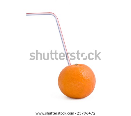 A mandarin with straw. Isolated.