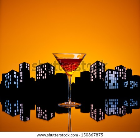 A Manhattan is a cocktail made with whiskey, sweet vermouth, and bitters. Whiskeys used are rye (the traditional choice), Canadian whisky, bourbon, blended whiskey and Tennessee whiskey. - stock photo