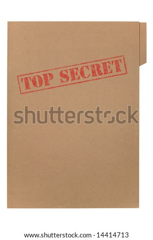 A manila folder with the faded words Top Secret on the front, isolated on a white background with clipping path. - stock photo