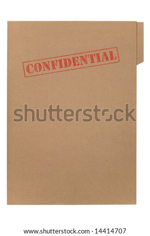 A manila folder with the feded word Confidential on the front, isolated on a white background with clipping path. - stock photo