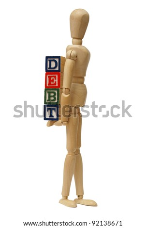 A mannequin carries his debts around with himself. - stock photo