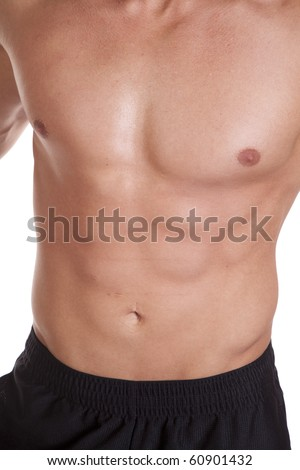 A mans chest close up.  Muscles showing. - stock photo