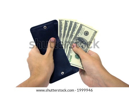 A mans hand taking out money from the wallet. Clipping path included. - stock photo