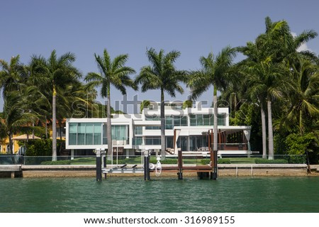 A mansion in Miami Florida's famed South Beach - stock photo