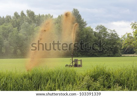 A manure spreader used for fertilizing crops/Manure Spreader/Fertilizing a field using a manure spreader - stock photo