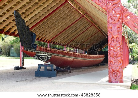 A Maori War Canoe On Display Made Of Kauri Wood - stock photo