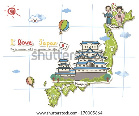 Map Depicting Tourist Attractions Japan Stock Illustration - Japan map tourist attractions