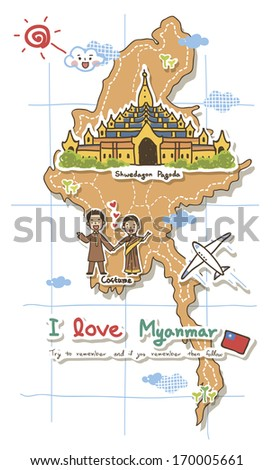 A map depicting tourist attractions of Myanmar. - stock photo