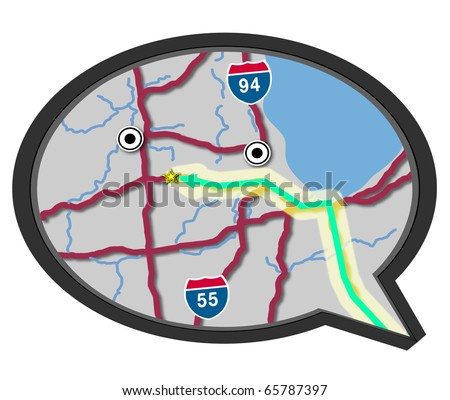 A map in a speech bubble, symbolizing someone speaking to give directions