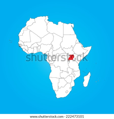 A Map of Africa with a selected country of Uganda - stock photo