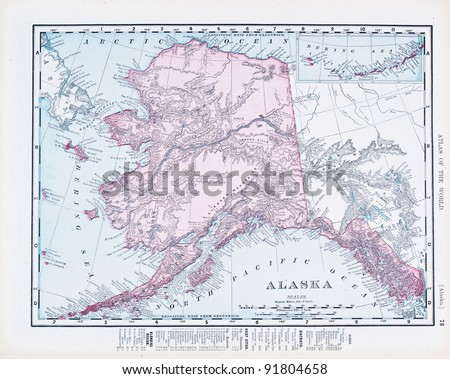 A map of Alaska, USA from Spofford's Atlas of the World, printed in the United States in 1900, created by Rand McNally & Co.