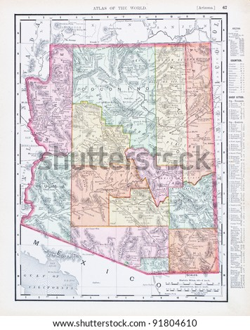 A map of Arizona, USA from Spofford's Atlas of the World, printed in the United States in 1900, created by Rand McNally & Co. - stock photo