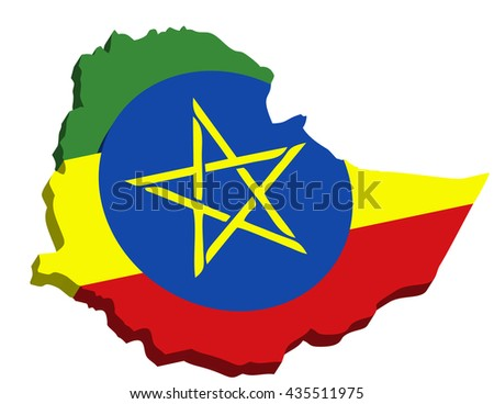 A map of Ethiopia 3D on white background - stock photo