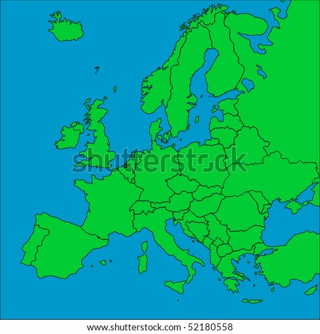 A map of Europe with all countries borders represented.