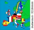 A map of Europe with all the EU member countries represented by their flags. - stock photo