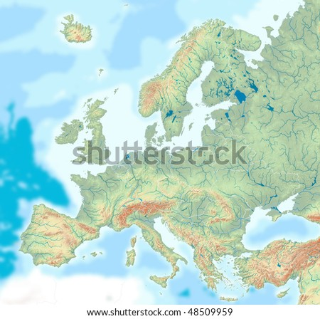 A map of Europe with drainage, borders, relief and hypsometric tints - stock photo