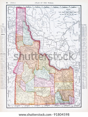 A map of Idaho, USA from Spofford's Atlas of the World, printed in the United States in 1900, created by Rand McNally & Co. - stock photo