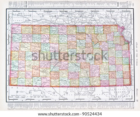A map of Kansas, USA from Spofford's Atlas of the World, printed in the United States in 1900, created by Rand McNally & Co. - stock photo