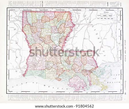 A Map Of Louisiana Usa From Spofford S Atlas Of The World Printed In The