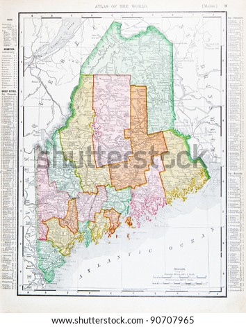 Map Maine Usa Spoffords Atlas World Stock Photo - Maine in usa map
