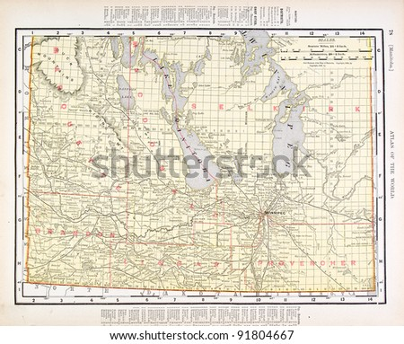 A map of Manitoba, Canada from Spofford's Atlas of the World, printed in the United States in 1900, created by Rand McNally & Co. - stock photo