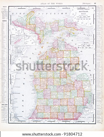 A Map Of Michigan Usa From Spofford S Atlas Of The World Printed In The