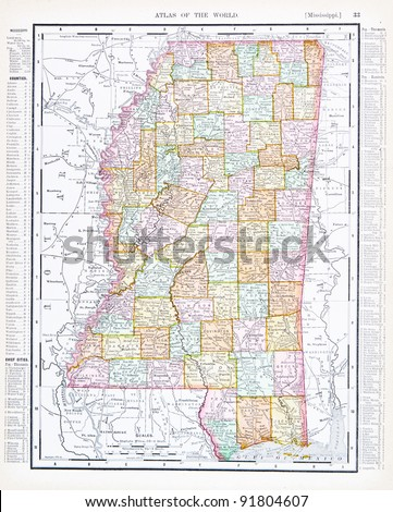 A map of Mississippi, USA from Spofford's Atlas of the World, printed in the United States in 1900, created by Rand McNally & Co. - stock photo