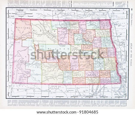 A map of North Dakota, USA from Spofford's Atlas of the World, printed in the United States in 1900, created by Rand McNally & Co. - stock photo