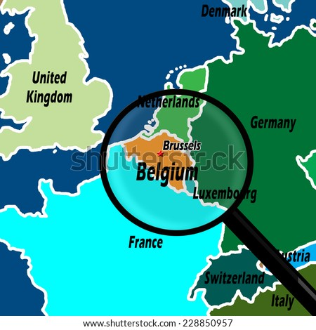 Map Northern Europe Belgium Highlighted Magnifying Stock ...