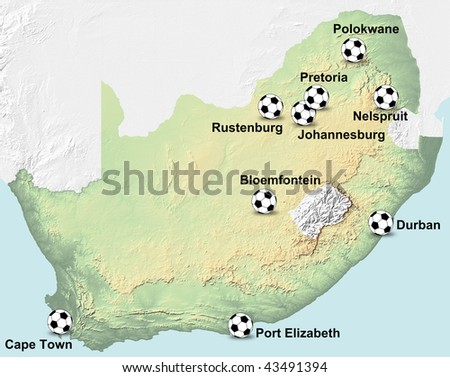 A map of South Africa showing the location of the venues of the coming Soccer World Cup 2010. - stock photo