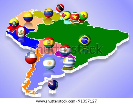 A map of South America and all countries with their flags shaped as balls / South America
