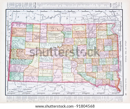 A map of South Dakota, USA from Spofford's Atlas of the World, printed in the United States in 1900, created by Rand McNally & Co. - stock photo
