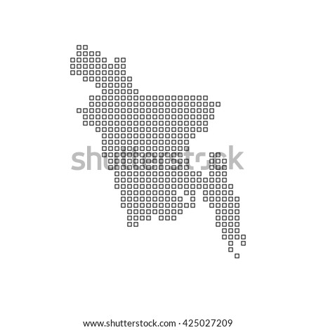A Map of the country of Bangladesh - stock photo