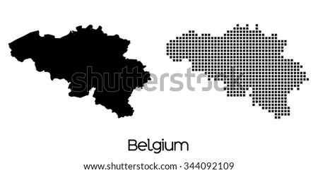 A Map of the country of Belgium
