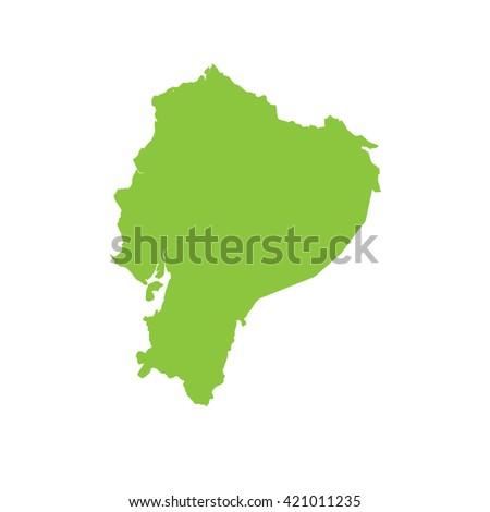 A Map of the country of Ecuador - stock photo