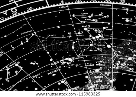 a map of the stars of the orion constellation. focus is in orion word - stock photo
