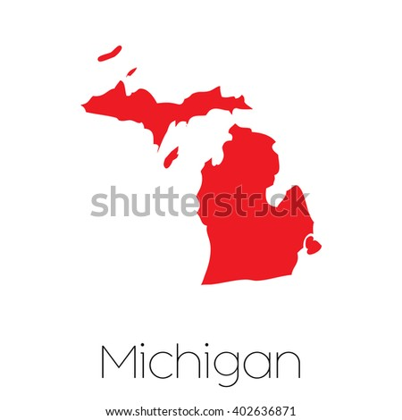 A Map of the the state  Michigan - stock photo