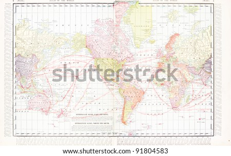 A map of the world from Spofford's Atlas of the World, printed in the United States in 1900, created by Rand McNally & Co. - stock photo