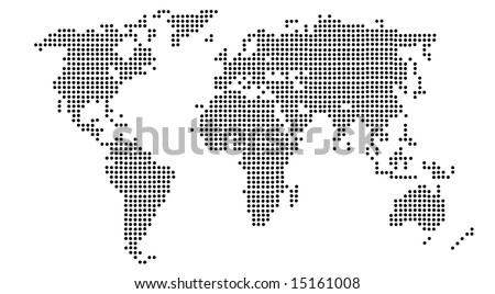 a map of the world with the continents made up of black and white dots