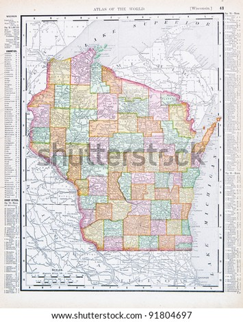 A map of Wisconsin, USA from Spofford's Atlas of the World, printed in the United States in 1900, created by Rand McNally & Co. - stock photo